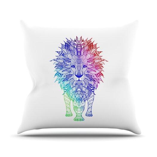 KESS InHouse Rainbow Lion Throw Pillow