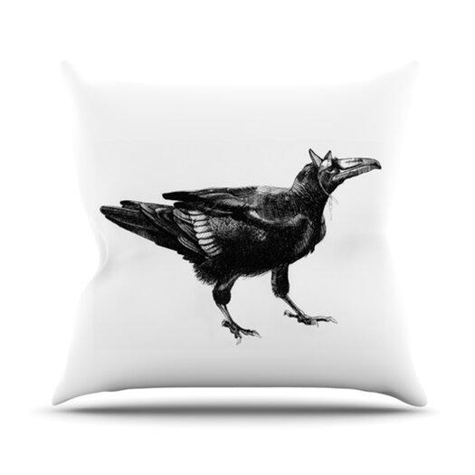 KESS InHouse Raven Throw Pillow
