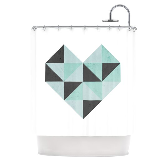 KESS InHouse Geo Heart Polyester Shower Curtain