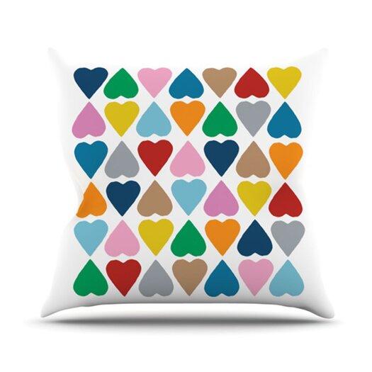 KESS InHouse Diamond Hearts Throw Pillow