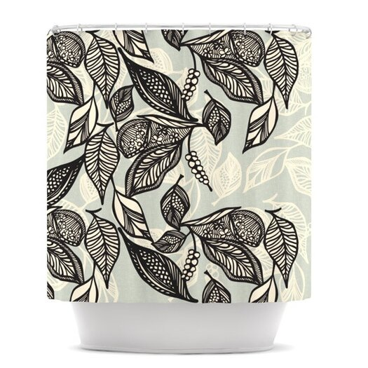 KESS InHouse Java Leaf Polyester Shower Curtain