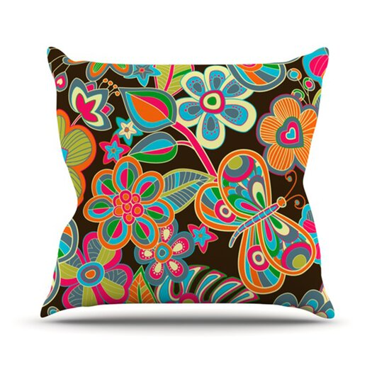 KESS InHouse My Butterflies and Flowers Throw Pillow