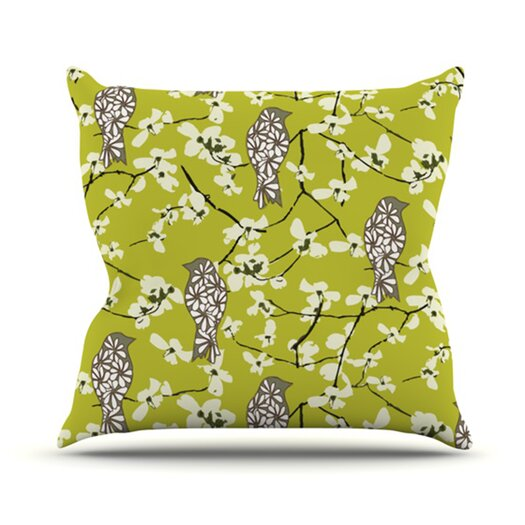 KESS InHouse Blossom Bird Throw Pillow
