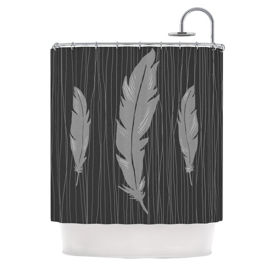 KESS InHouse Feathers Polyester Shower Curtain
