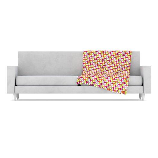 KESS InHouse Happy Circles Microfiber Fleece Throw Blanket