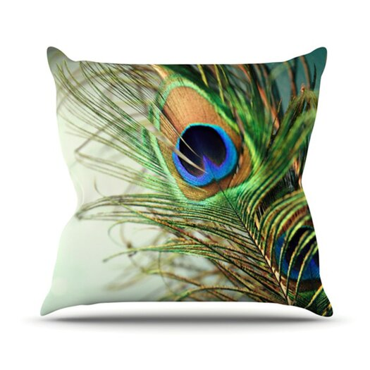KESS InHouse Peacock Feather Throw Pillow