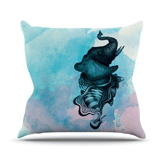 KESS InHouse Elephant Guitar III Throw Pillow