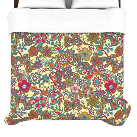 "KESS InHouse ""My Butterflies & Flowers in Yellow"" Woven Comforter Duvet Cover"