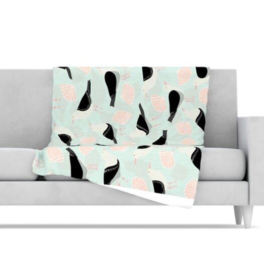 KESS InHouse Seagulls and Shells Fleece Throw Blanket