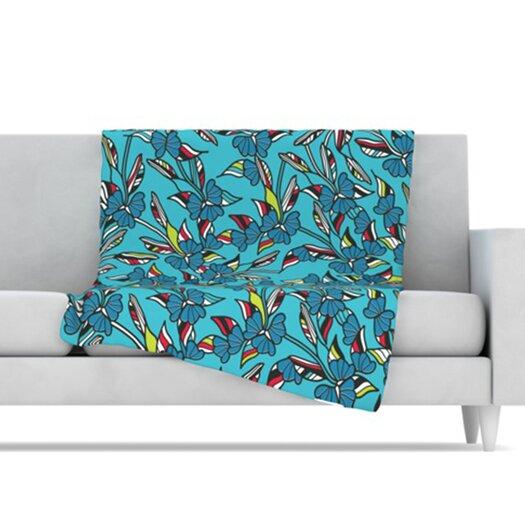 KESS InHouse Paper Leaf Fleece Throw Blanket