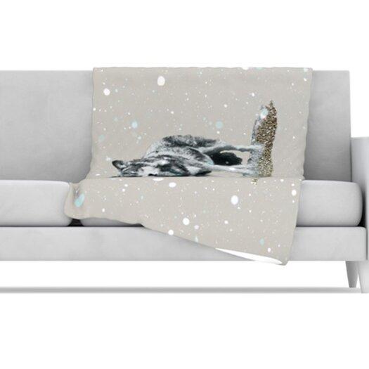 KESS InHouse Wolf Fleece Throw Blanket