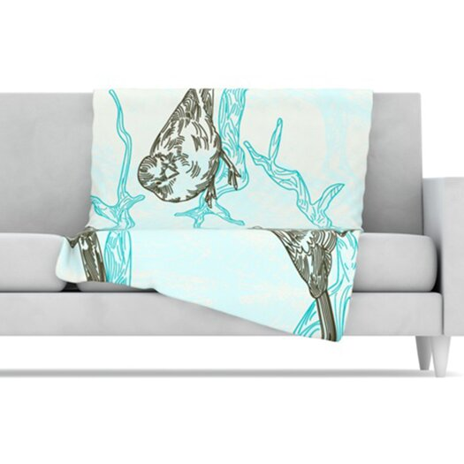 KESS InHouse Birds in Trees Fleece Throw Blanket