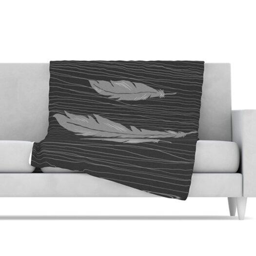 KESS InHouse Feathers Microfiber Fleece Throw Blanket