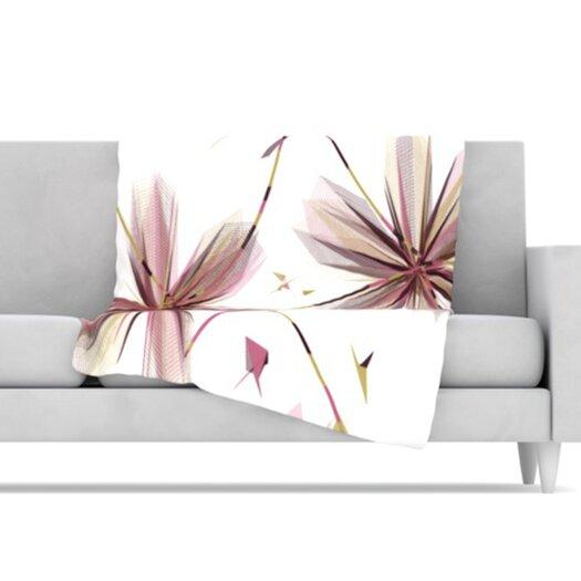 KESS InHouse Flower Microfiber Fleece Throw Blanket