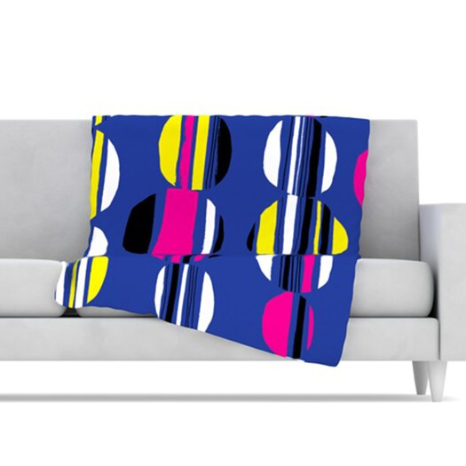 KESS InHouse Retro Circles Microfiber Fleece Throw Blanket