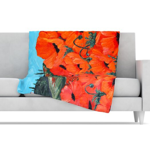 KESS InHouse Poppies Microfiber Fleece Throw Blanket