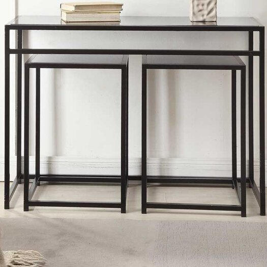 Convenience Concepts Designs2Go Classic Glass 3 Piece Console Table Set