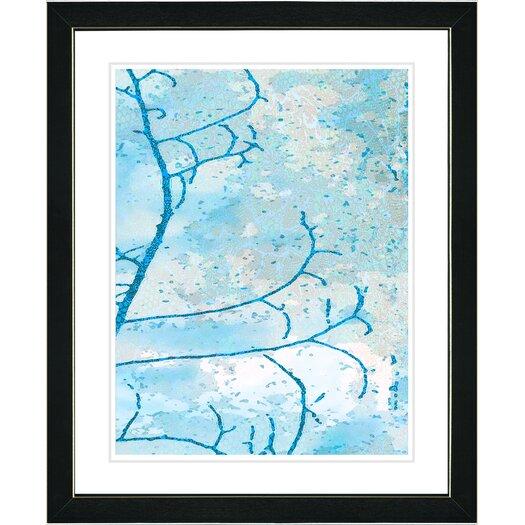"Studio Works Modern ""Filigree Flower Branches - Turquoise"" by Zhee Singer Framed Fine Art Giclee Painting Print"