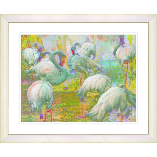 "Studio Works Modern ""White Flocking Flamingos"" by Zhee Singer Framed Fine Art Giclee Painting Print"
