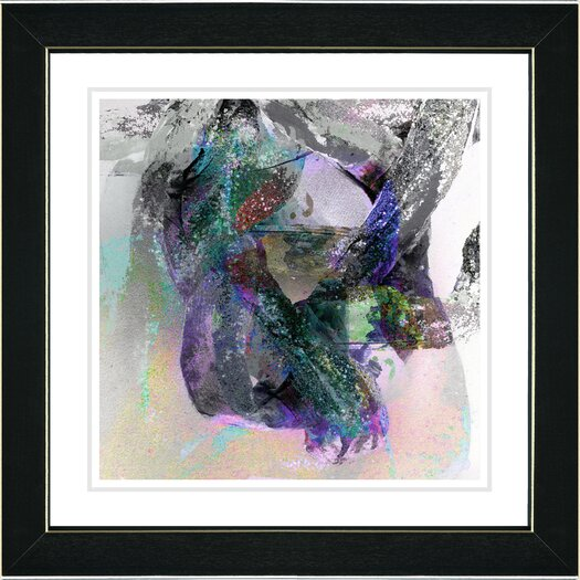"Studio Works Modern ""Smoke Grey Water Dance"" by Zhee Singer Framed Fine Art Giclee Painting Print"