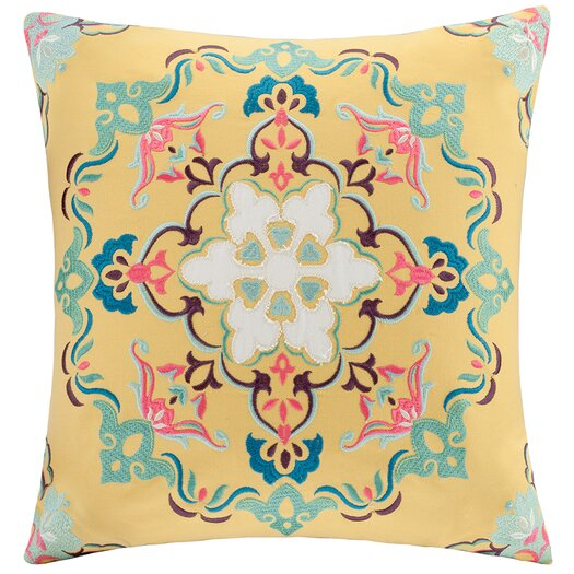 Intelligent Design Medallion Embroidered Square Throw Pillow