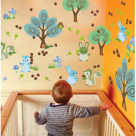 WallCandy Arts Nature Forest Friends Wall Decal 24 Piece Set