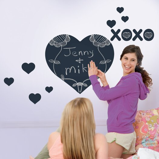 WallCandy Arts Chalkboards Heart Wall Decal 10 Piece Set