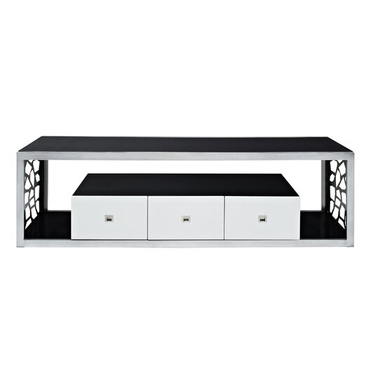 "Woodbridge Home Designs Black Modern Mosaic 70"" TV Stand"