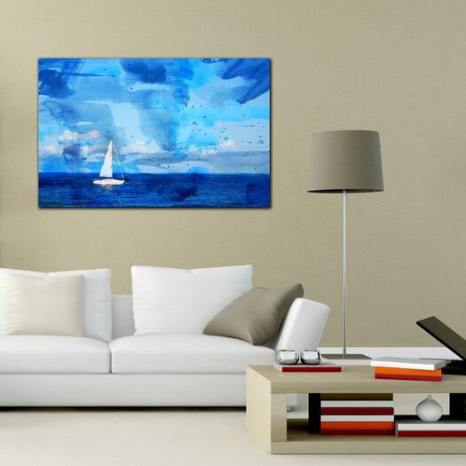 "Th-Ink Art ""Blue Sea"" Painting Print on Canvas"