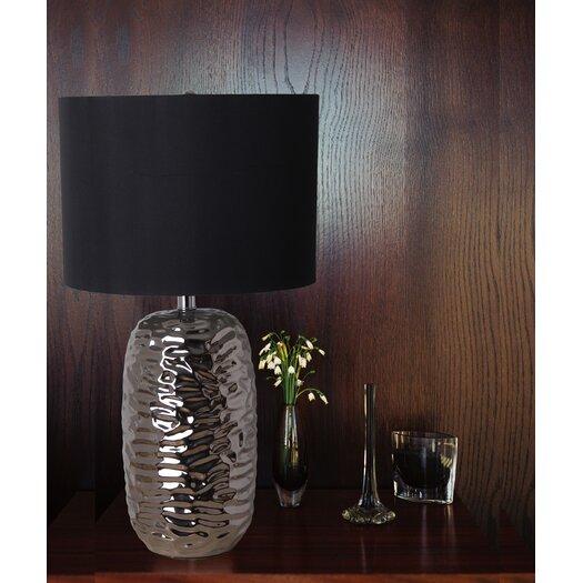 "Illuminada Rippled 3-Way Ceramic 25.75"" H Table Lamp with Drum Shade"