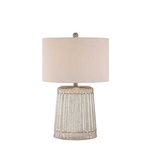 "Illuminada 3-Way Ribbed Mercury Glass 25"" H Table Lamp with Drum Shade"