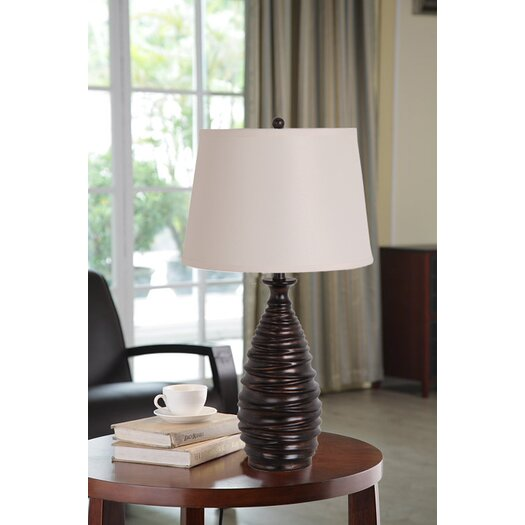 "Illuminada 3-Way Polyresin Fluted 27"" H Table Lamp with Empire Shade"
