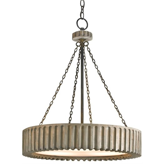 Currey & Company Greyledge 3 Light Drum Chandelier