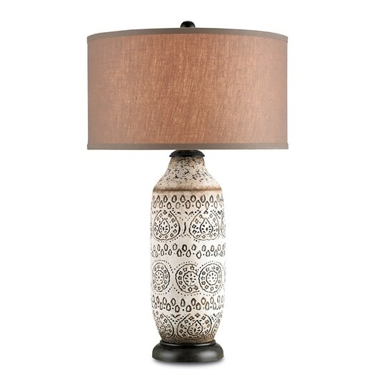 """Currey & Company Intarsia 31"""" H Table Lamp with Drum Shade"""