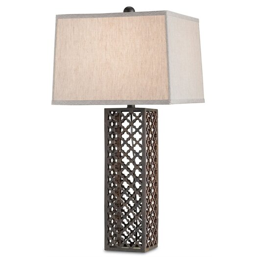 "Currey & Company Madera 31"" H Table Lamp with Square Shade"