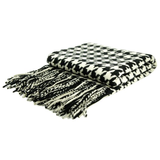 Pur Modern Lautner Houndstooth Cashmere/Wool Blend Throw