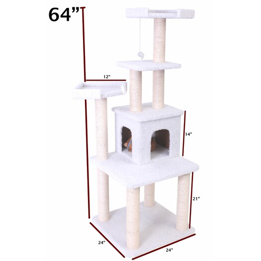 "Majestic Pet Products 64"" Bungalow Sherpa Cat Tree"