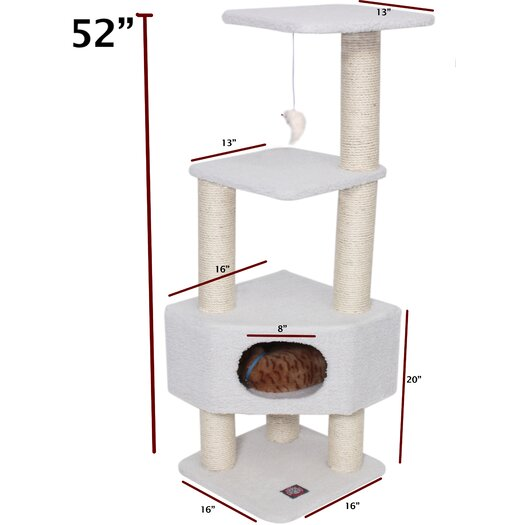 """Majestic Pet Products 52"""" Bungalow Sherpa Cat Tree"""