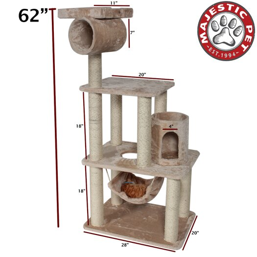 "Majestic Pet Products 62"" Casita Fur Cat Tree"
