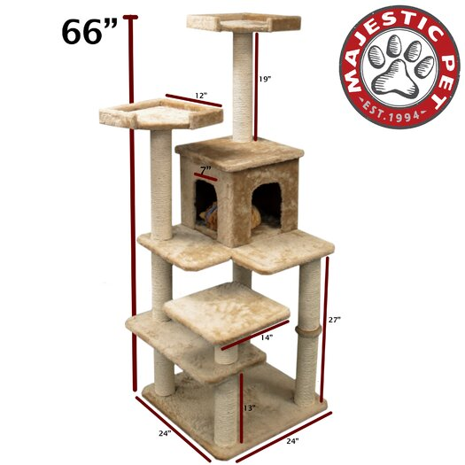 "Majestic Pet Products 66"" Casita Fur Cat Tree"
