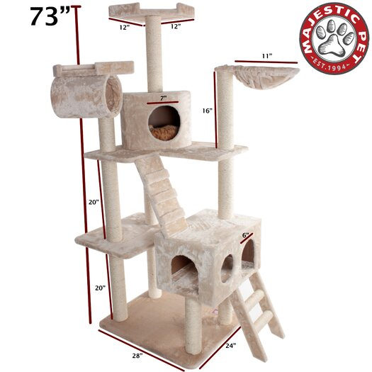 "Majestic Pet Products 73"" Casita Fur Cat Tree"