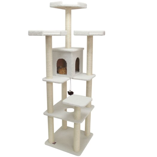 "Majestic Pet Products 80"" Bungalow Sherpa Cat Tree"