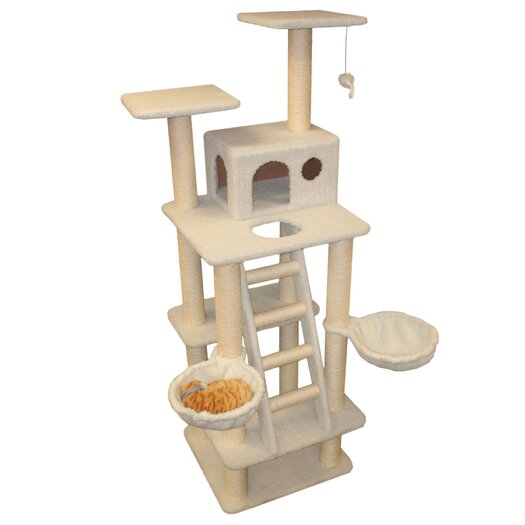 "Majestic Pet Products 72"" Bungalow Sherpa Cat Tree"