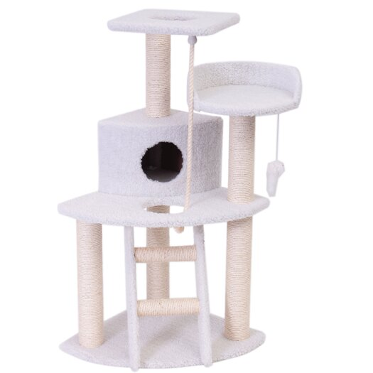 "Majestic Pet Products 48"" Bungalow Sherpa Cat Tree"