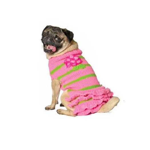 Chilly Dog Pink Flower Skirt Pink Sweater