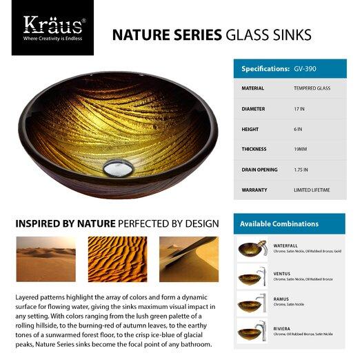 Kraus Midas Glass Vessel Sink with Riviera Faucet