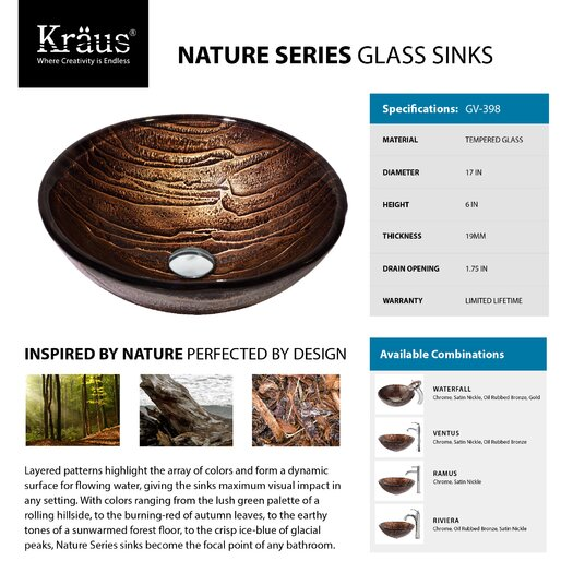 Kraus Gaia Glass Vessel Sink with Waterfall Faucet