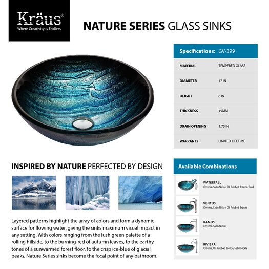 Kraus Ladon Glass Vessel Sink with Ventus Faucet