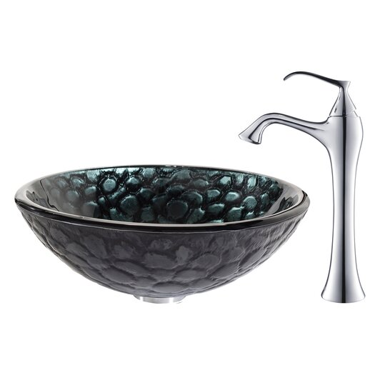 Kraus Kratos Glass Vessel Sink with Ventus Faucet