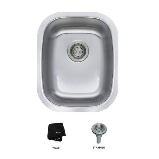 """Kraus 18"""" x 15"""" 3 Piece Undermount Single Bowl Kitchen Sink"""